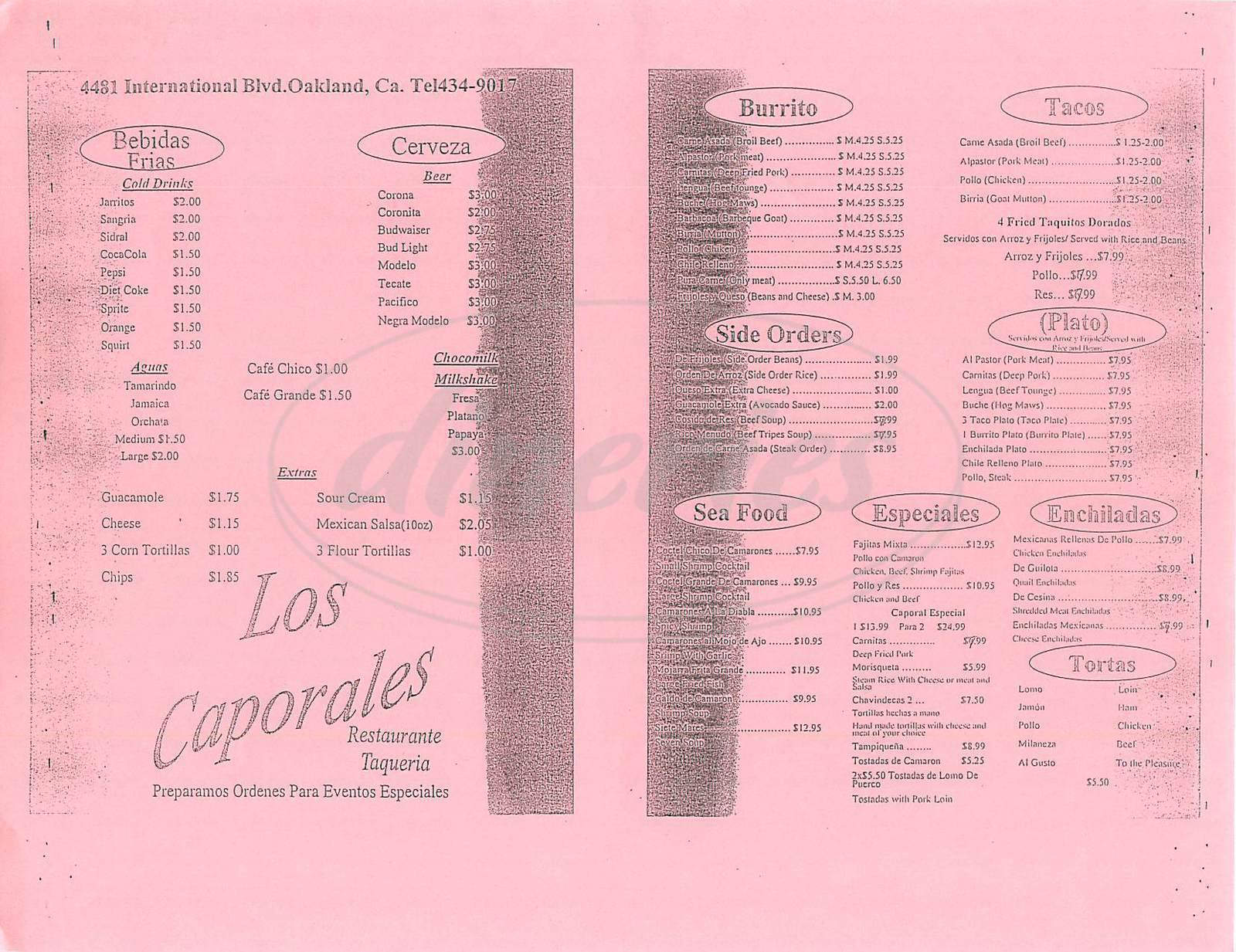 menu for Los Caporales