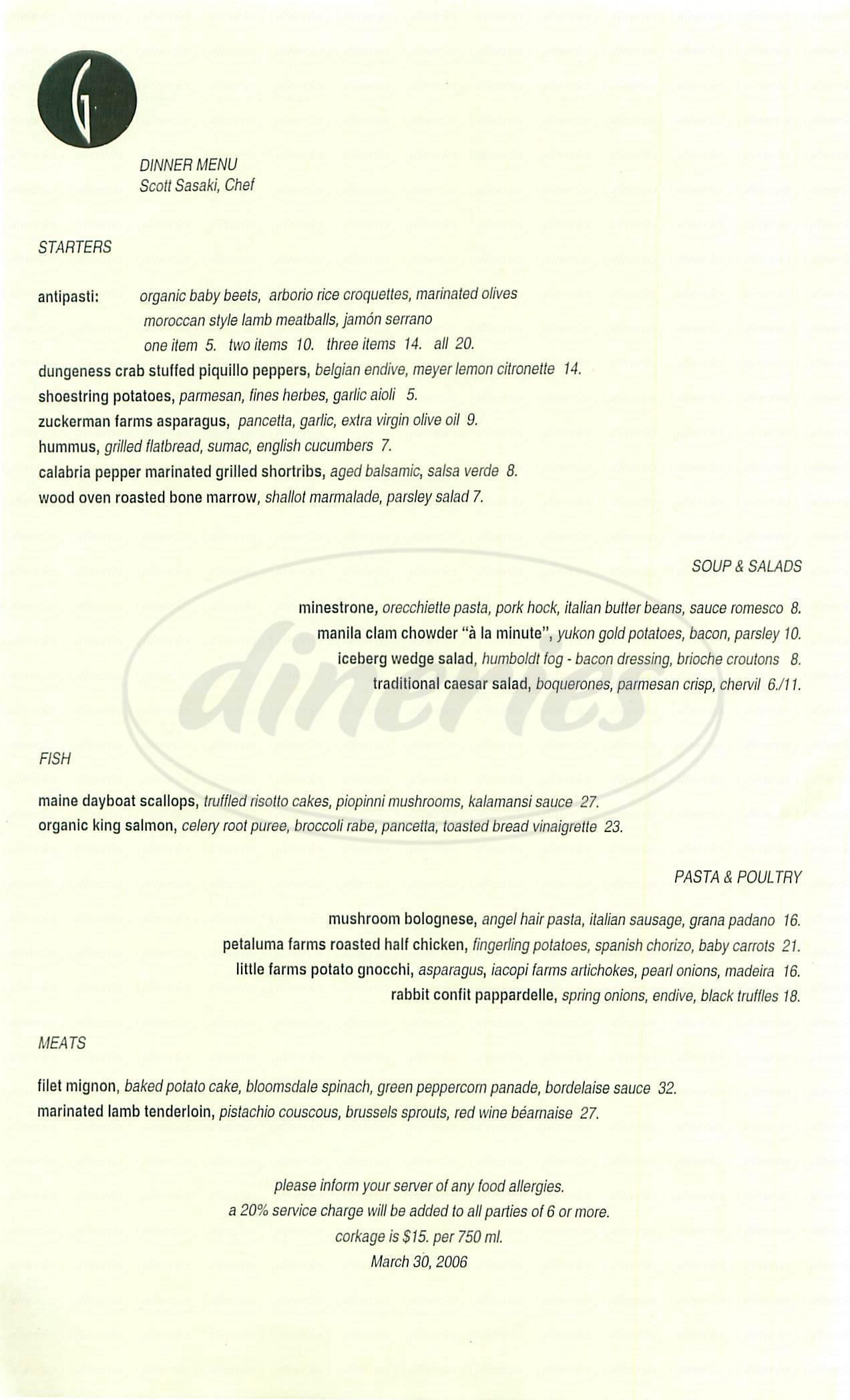 menu for Garibaldis