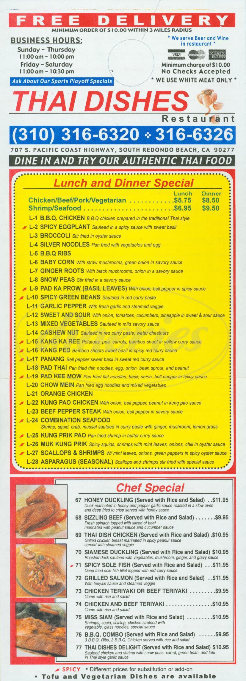 menu for Thai Dishes