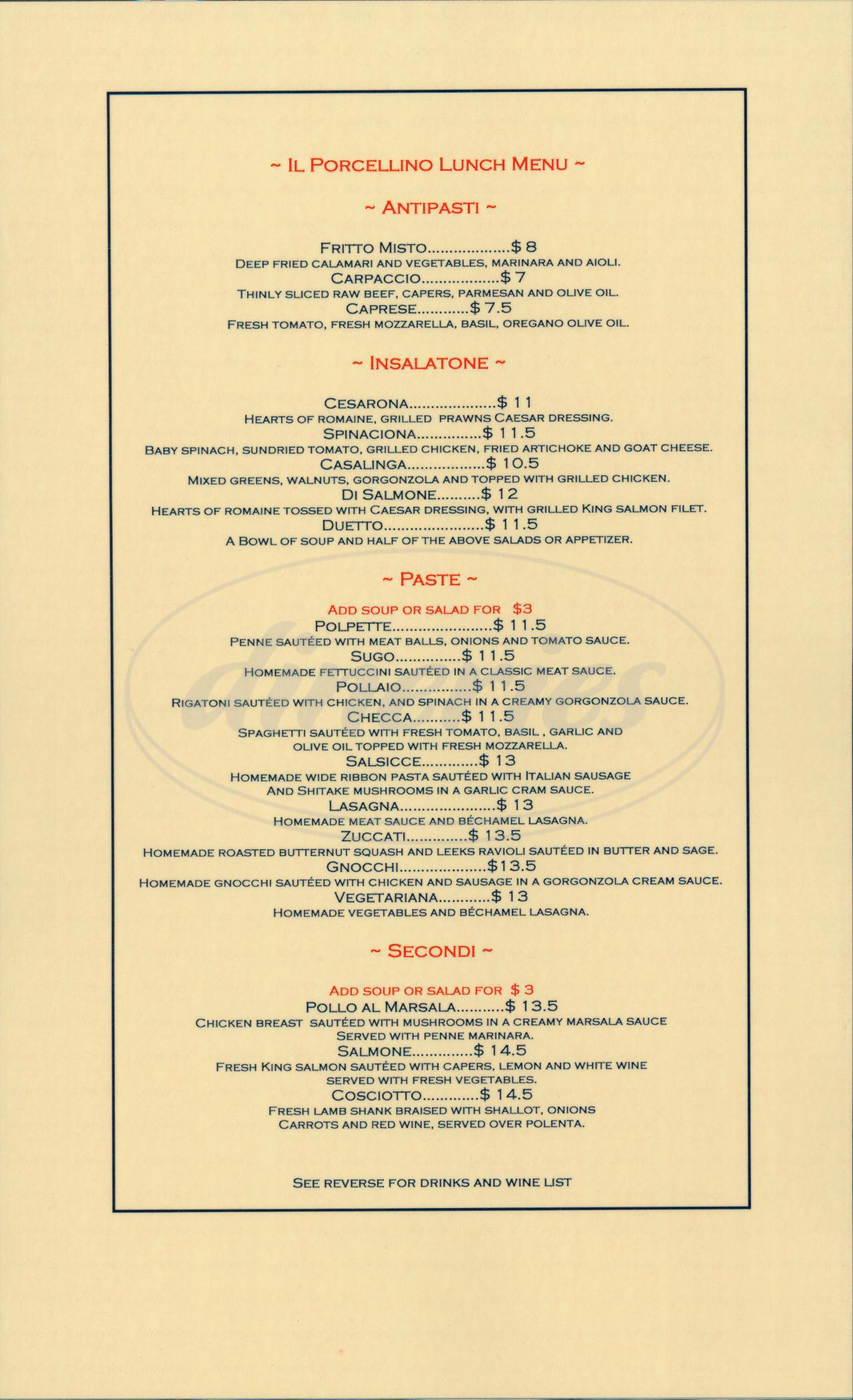 menu for Il Porcellino