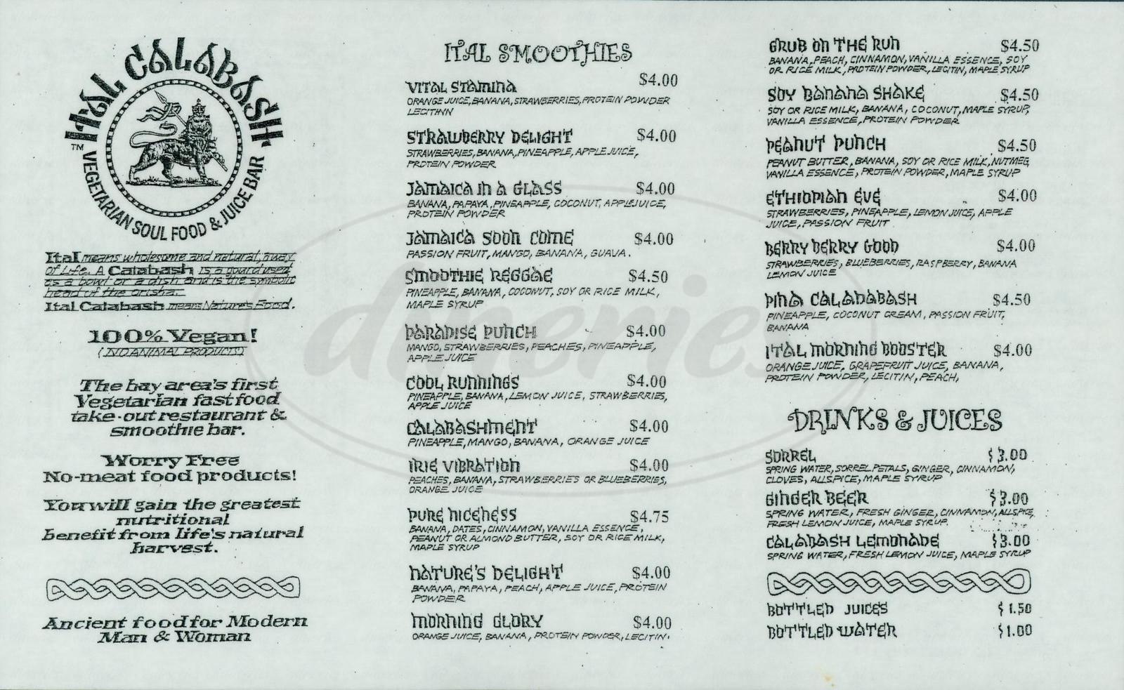 menu for Ital Calabash