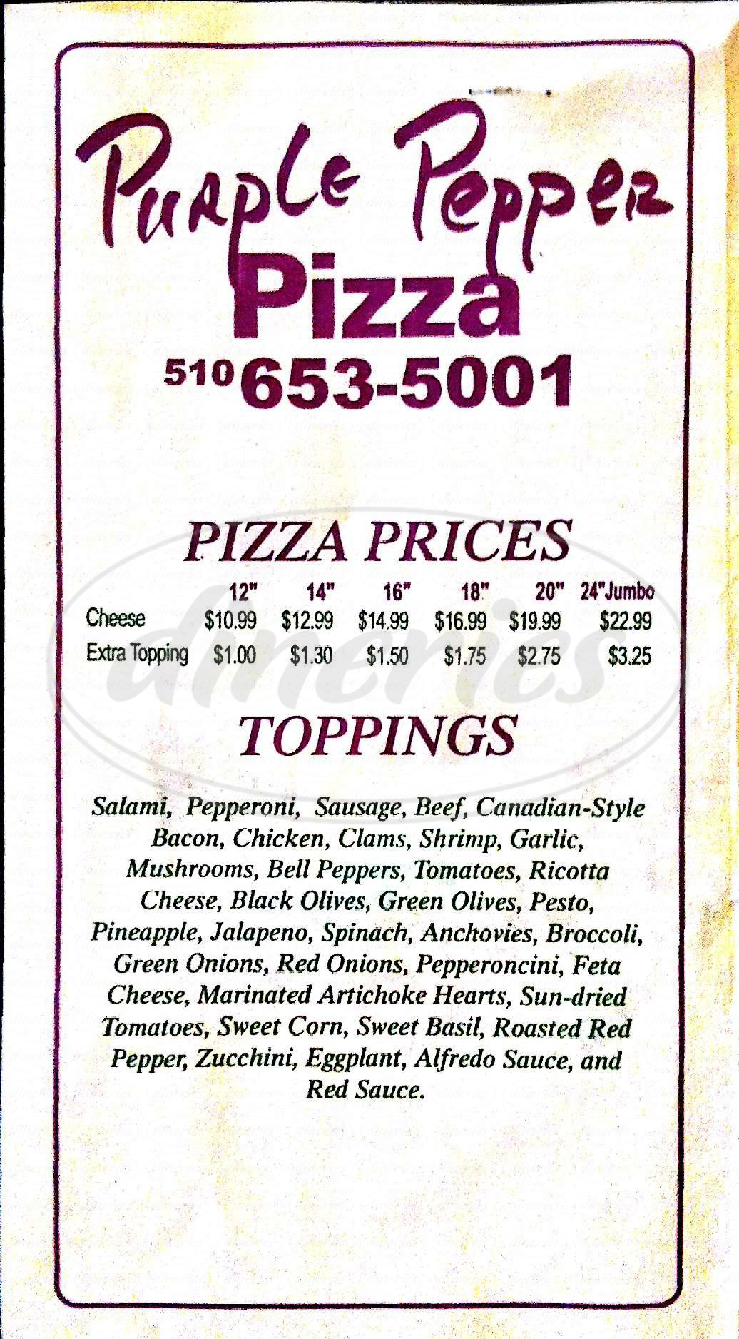 menu for Purple Pepper Pizza