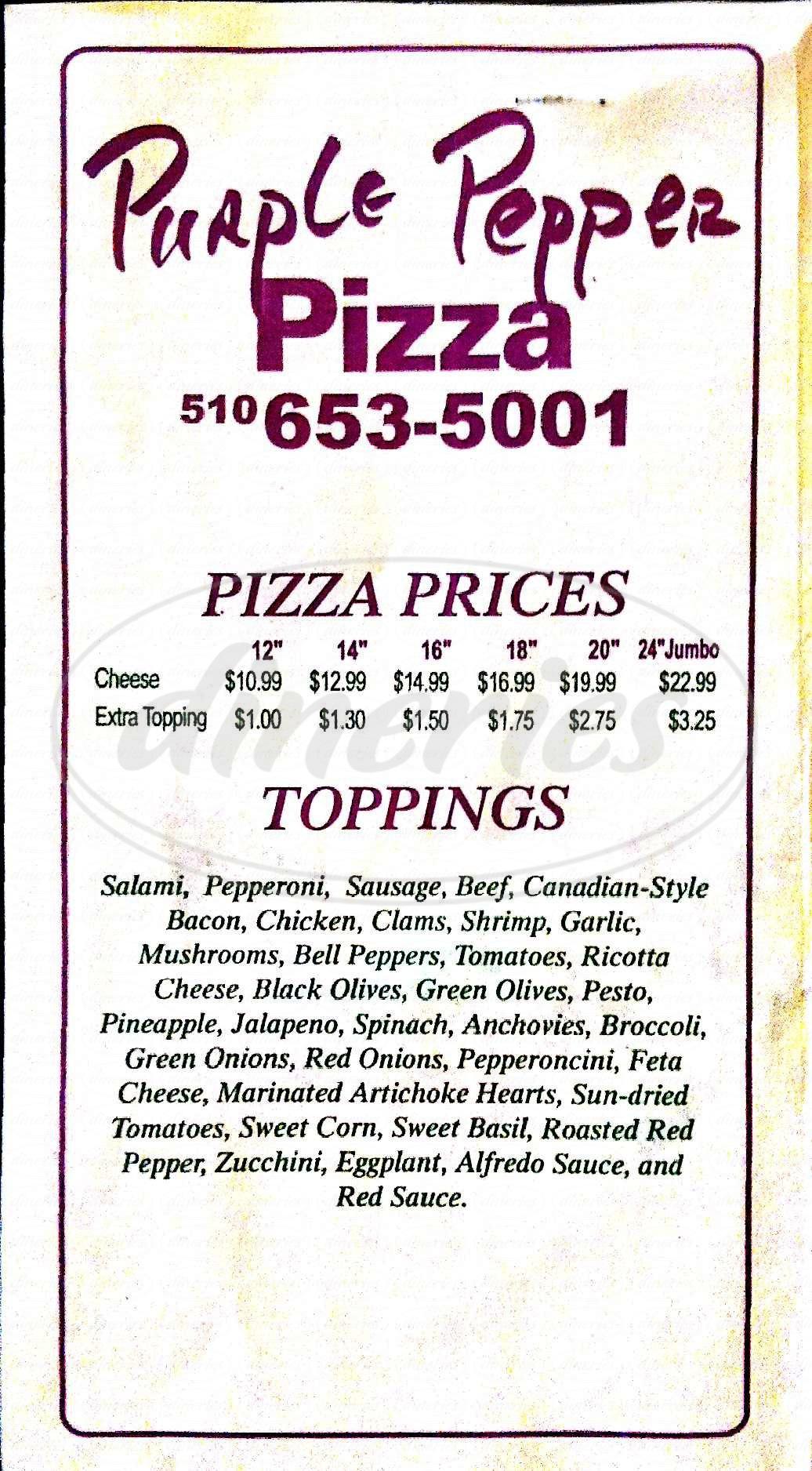 menu for Purple Pepper Pizza