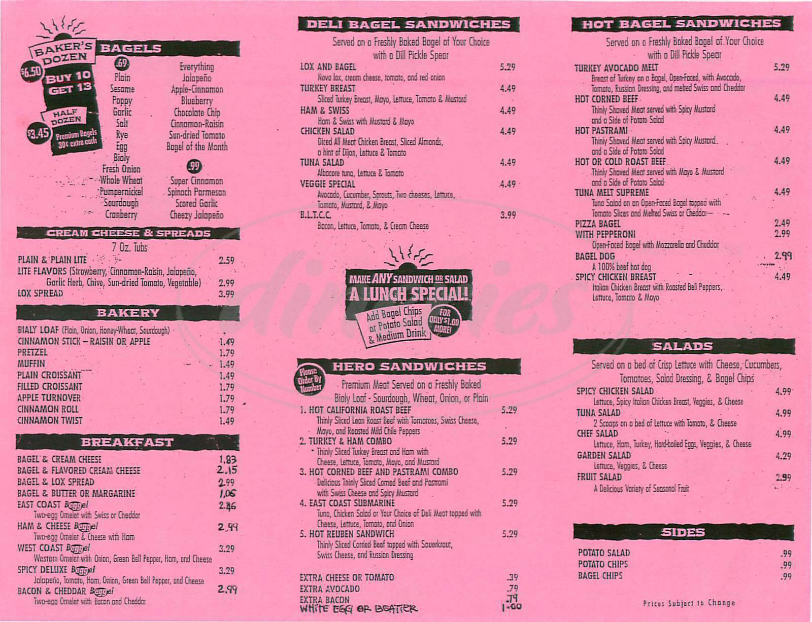 menu for East Coast Bagel