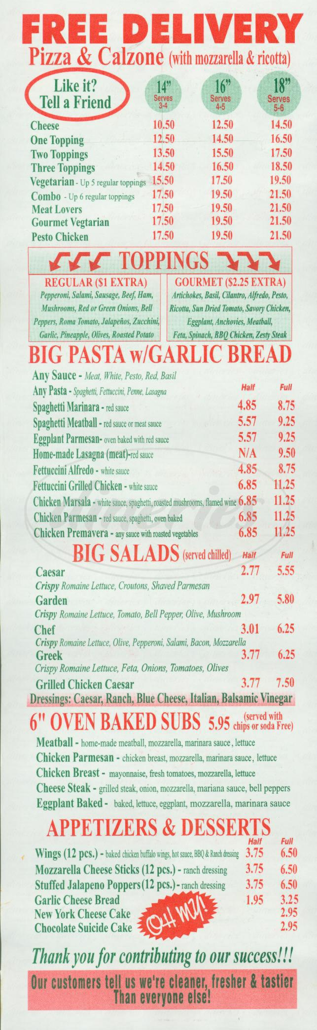 menu for Sopranos Pizza