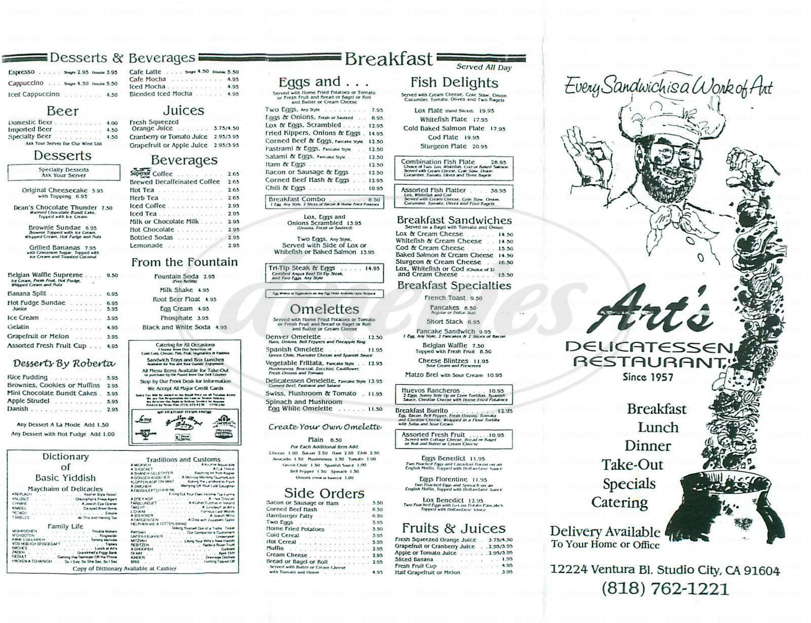 menu for Arts Delicatessen & Restaurant