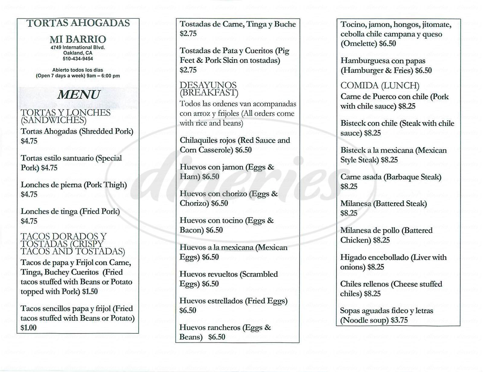menu for Tortas Ahogadas Mis Barrio