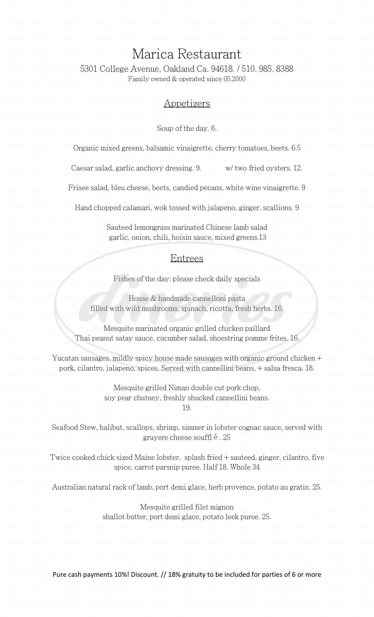 menu for Marica Seafood Restaurant