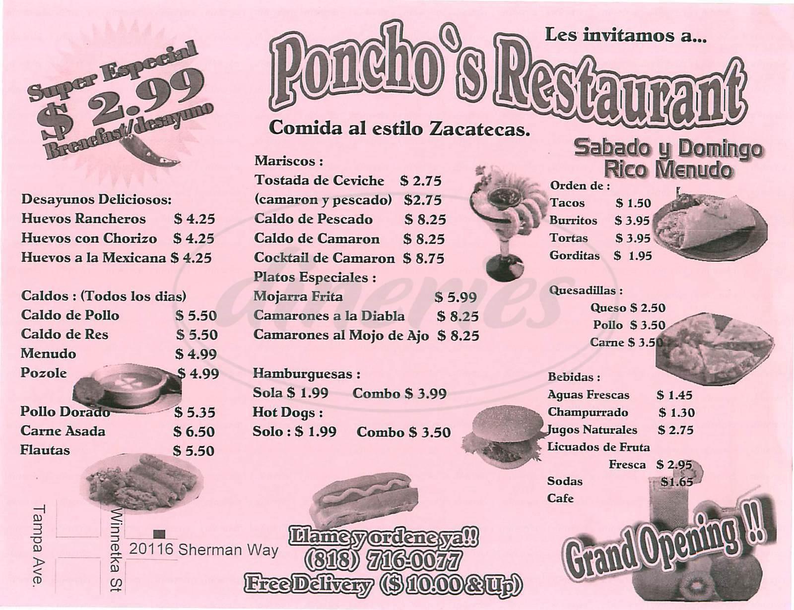 menu for Ponchos Restaurant