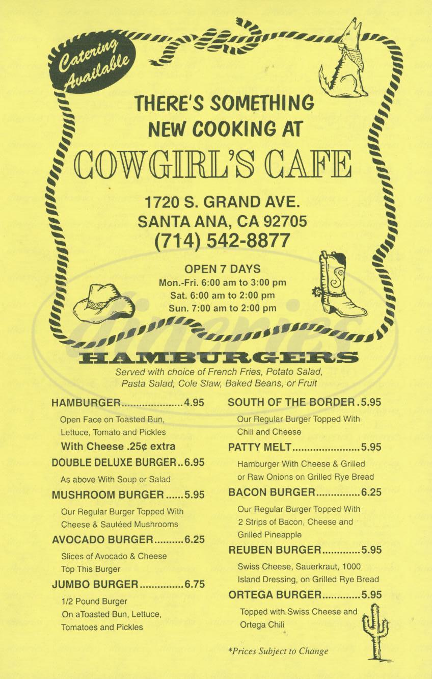 menu for Cowgirls Cafe