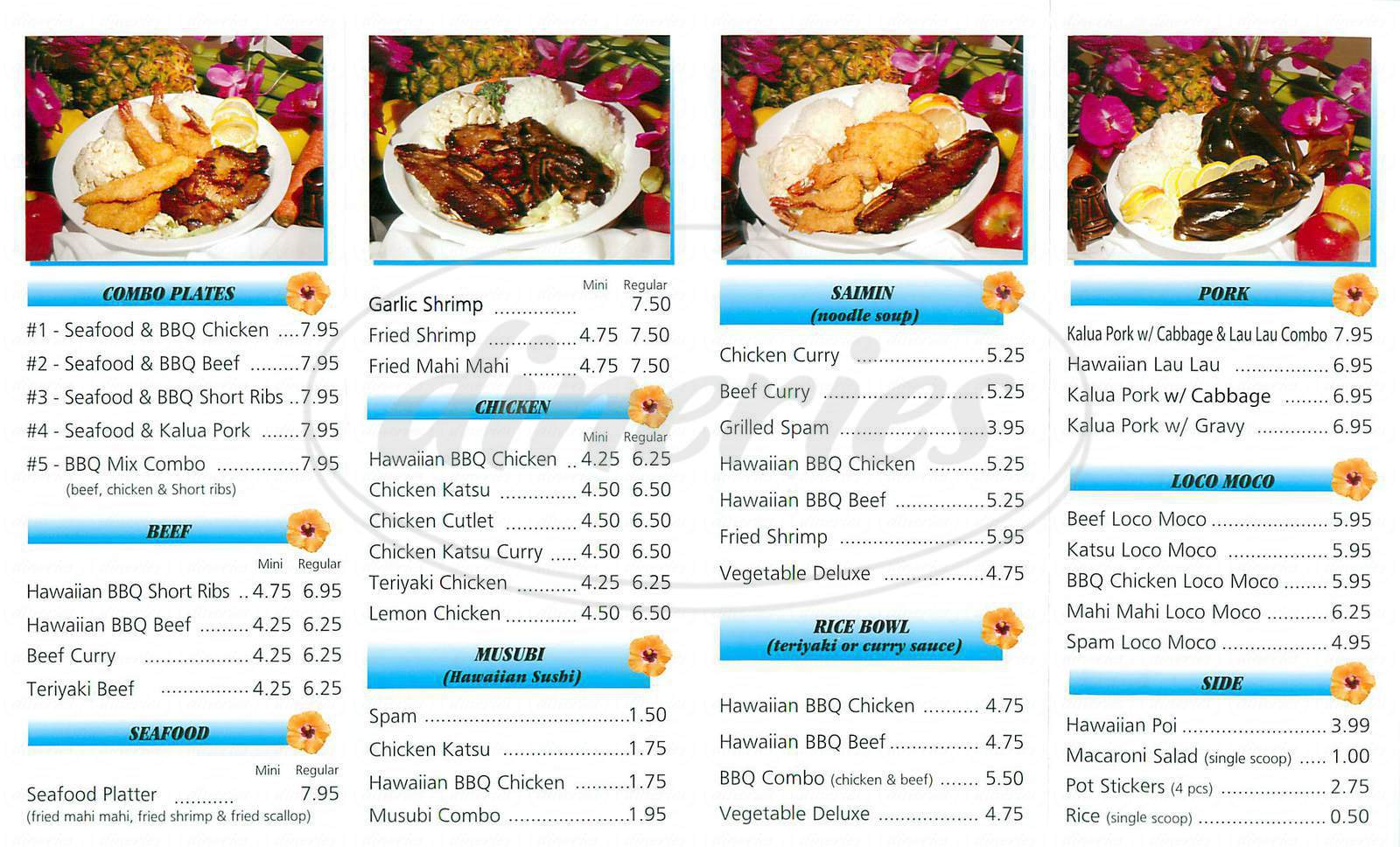 menu for Lukoki Hawaiian Bbq