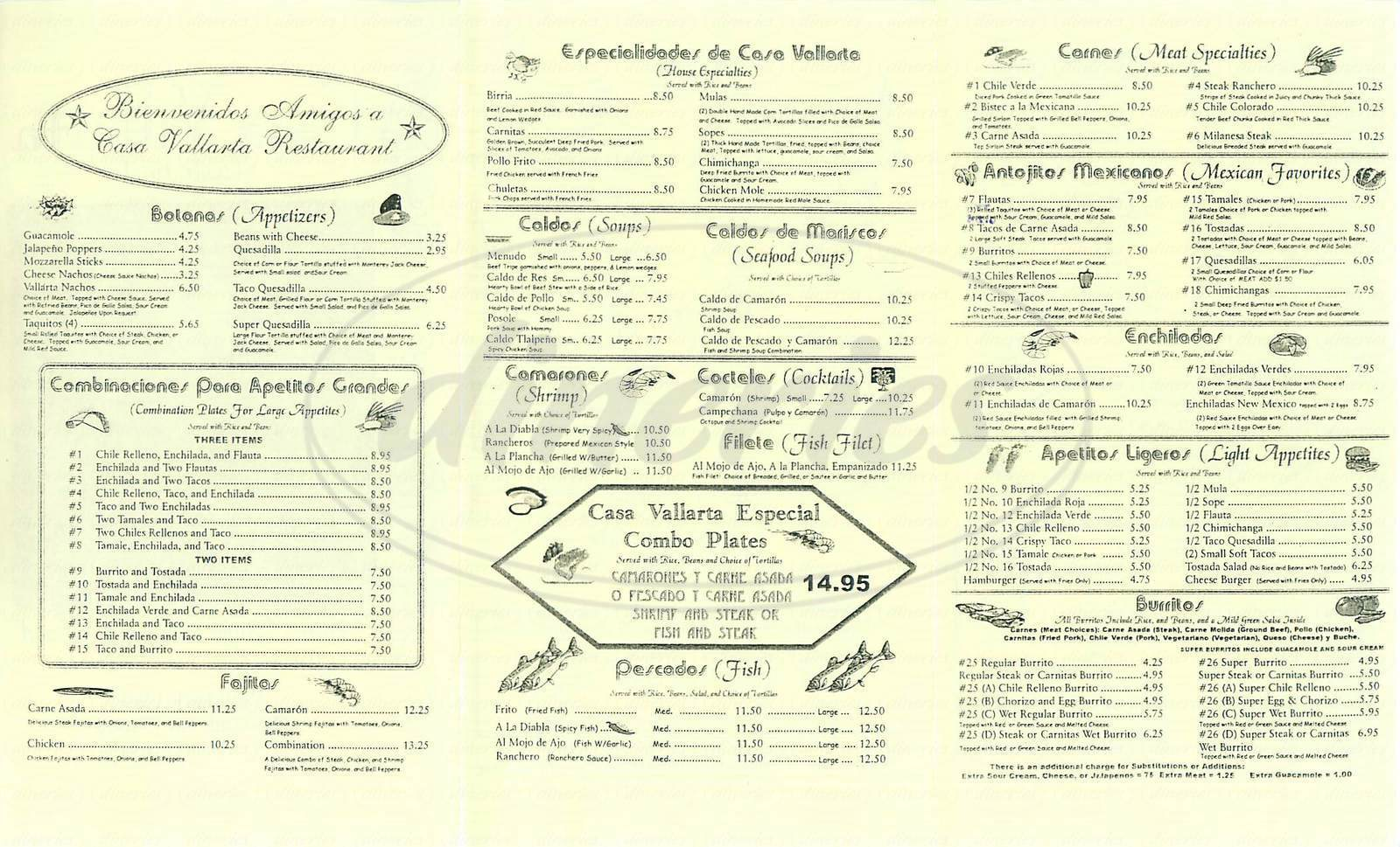menu for Casa Vallarta