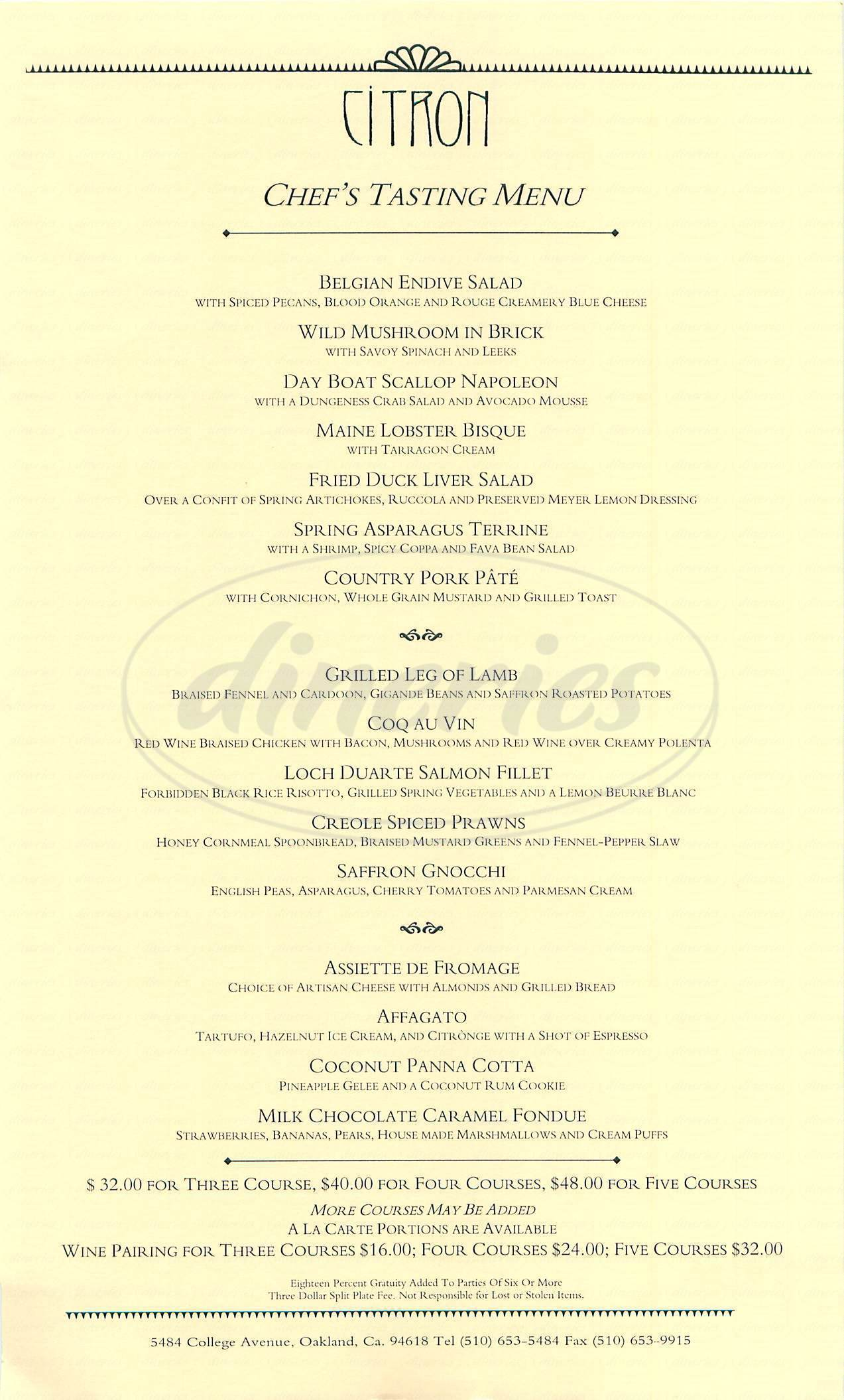 menu for Citron Restaurant