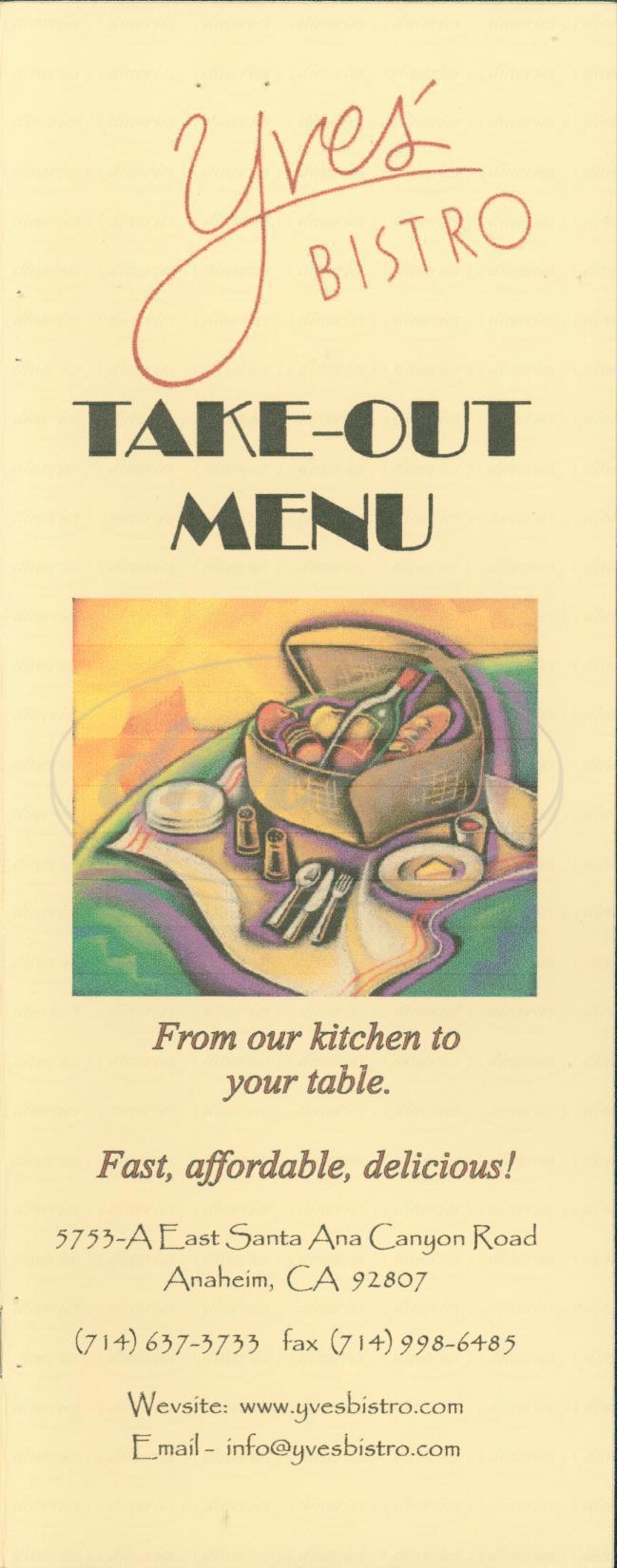 menu for Yves Bistro