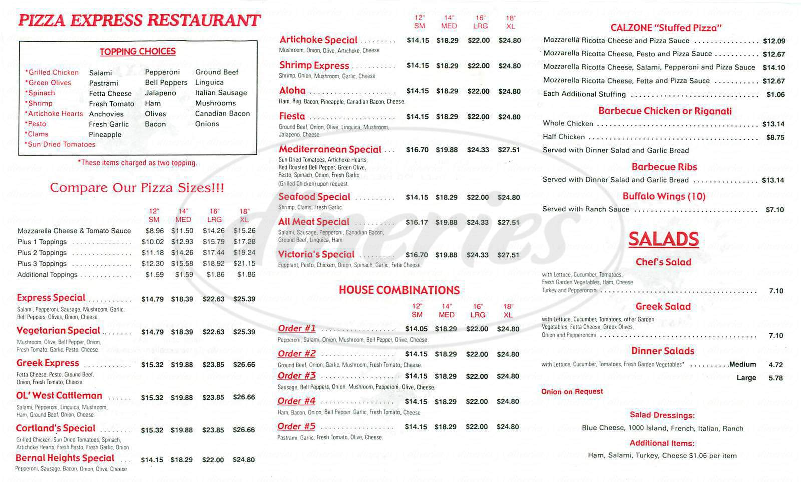 menu for Pizza Express