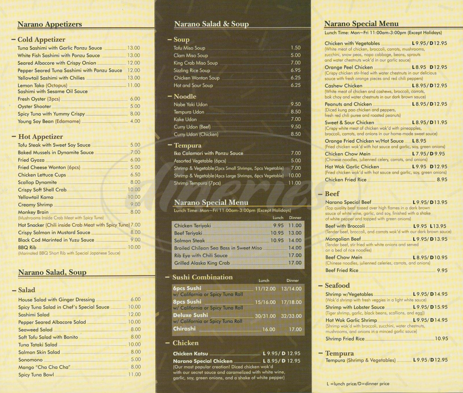 menu for Narano Sushi
