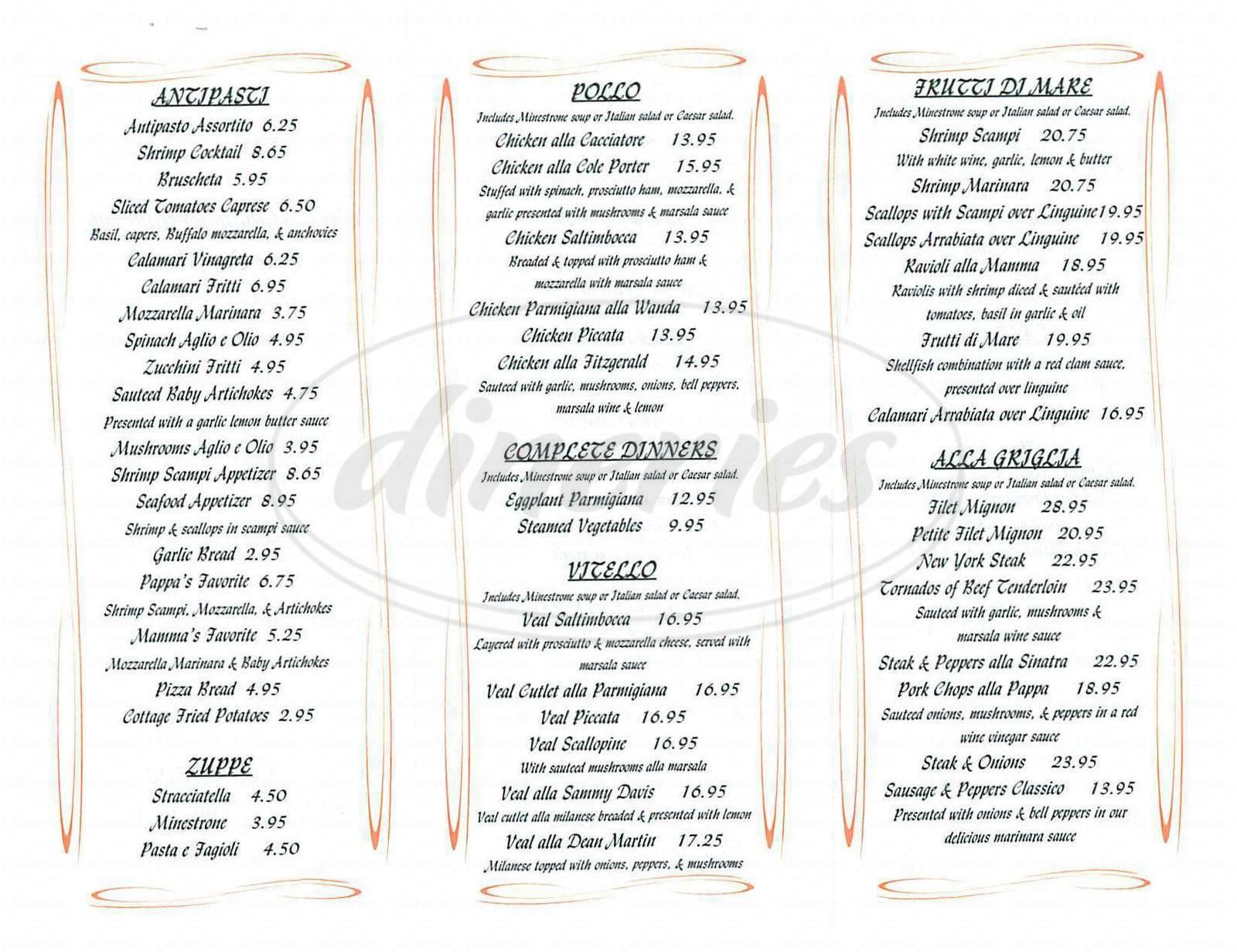 Opus italian restaurant menu orange dineries - Italian cuisine menu list ...