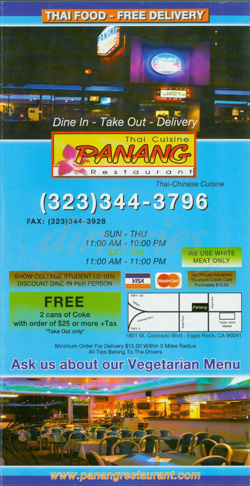 menu for Panang Restaurant