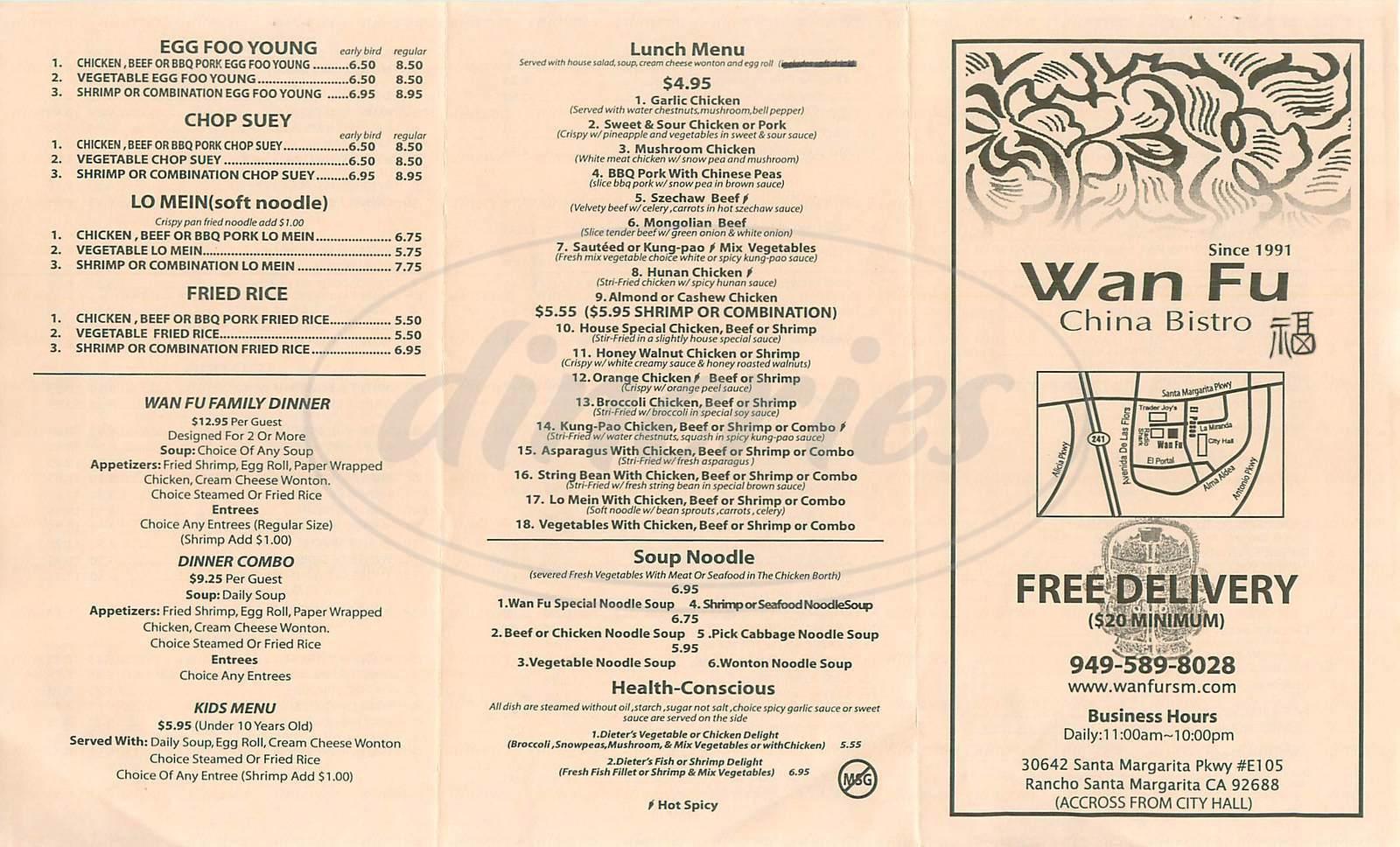 menu for Wan Fu China Bistro