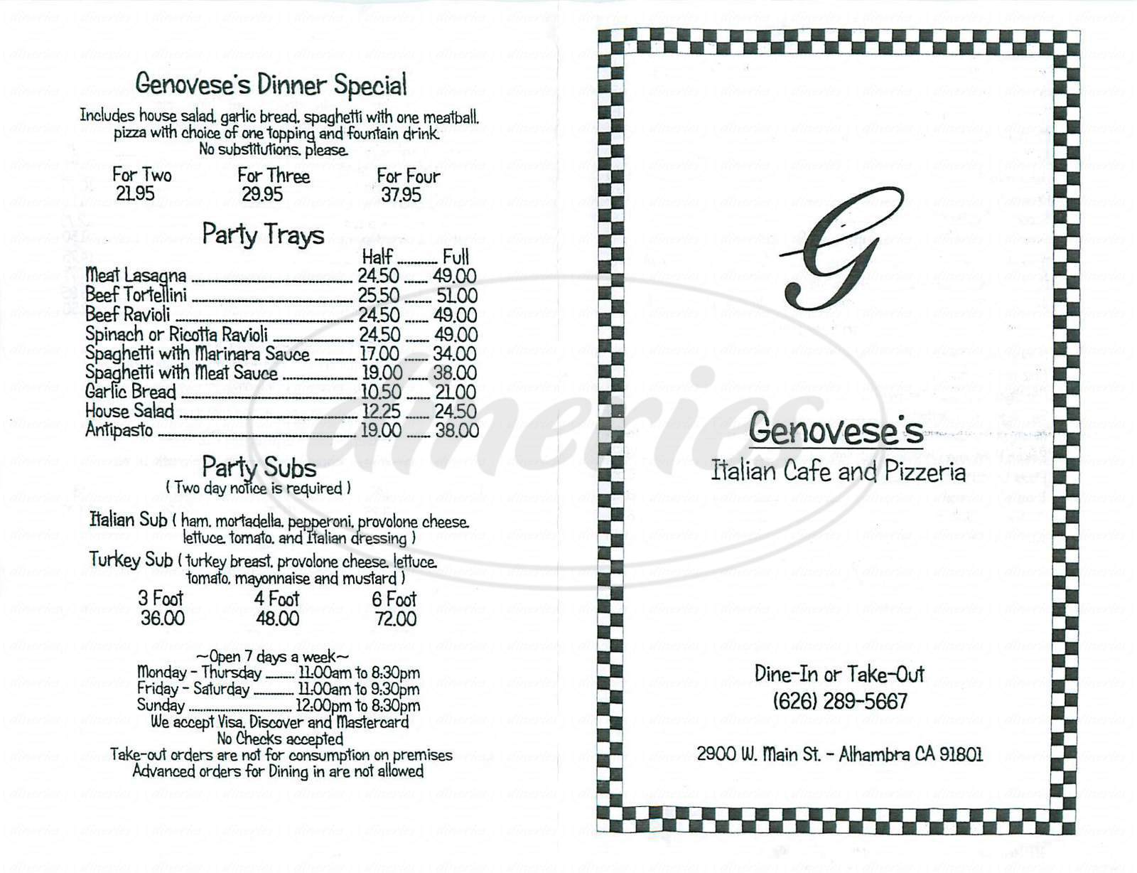 menu for Genovese's Pizza