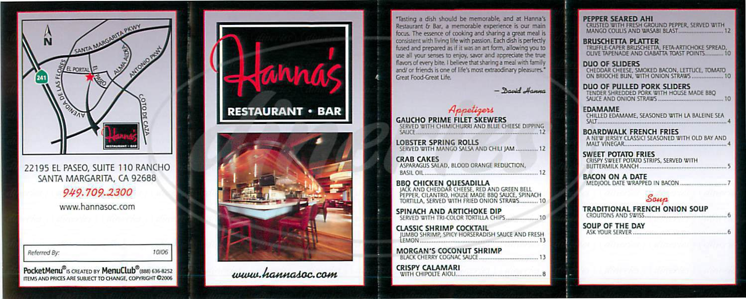 menu for Hanna's Restaurant & Bar