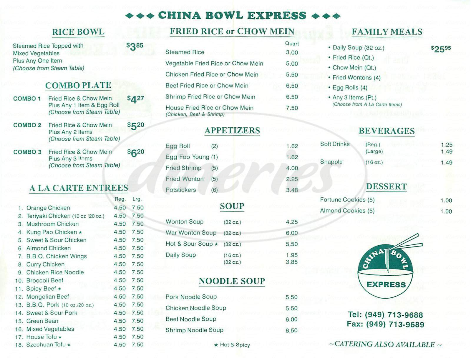 menu for China Bowl Express