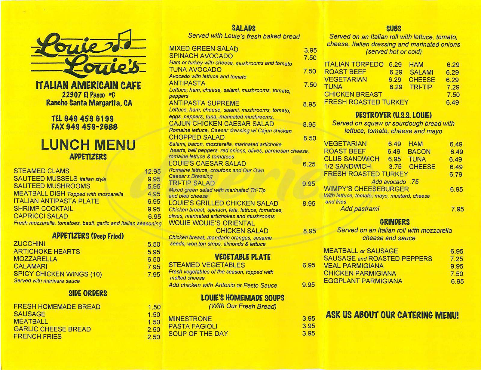 menu for Louie Louie's Italian Restaurant