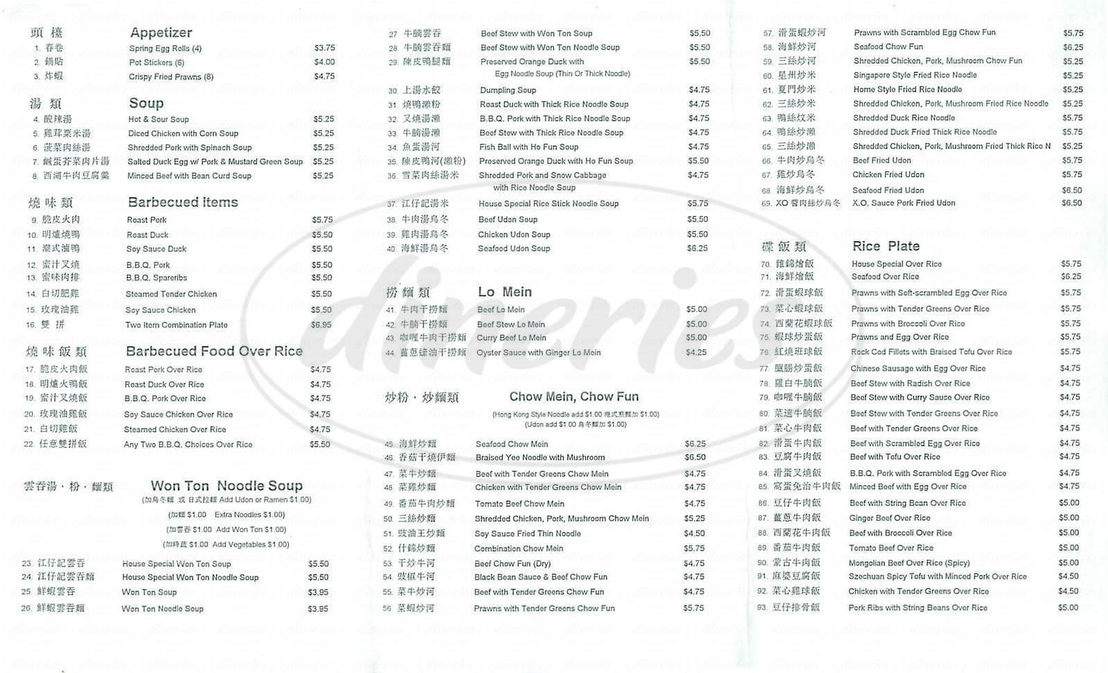 menu for Tops Café