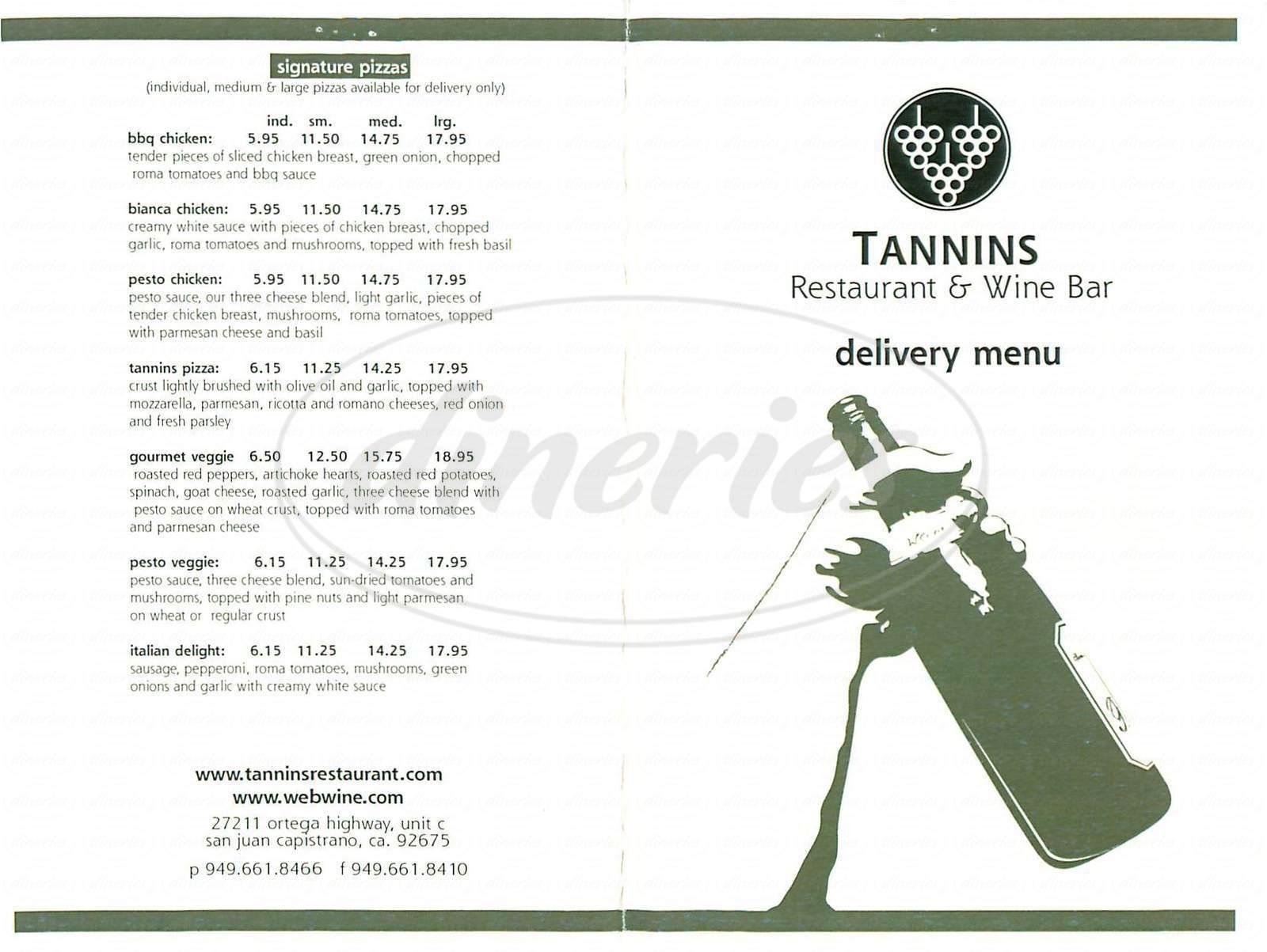 menu for Tannins