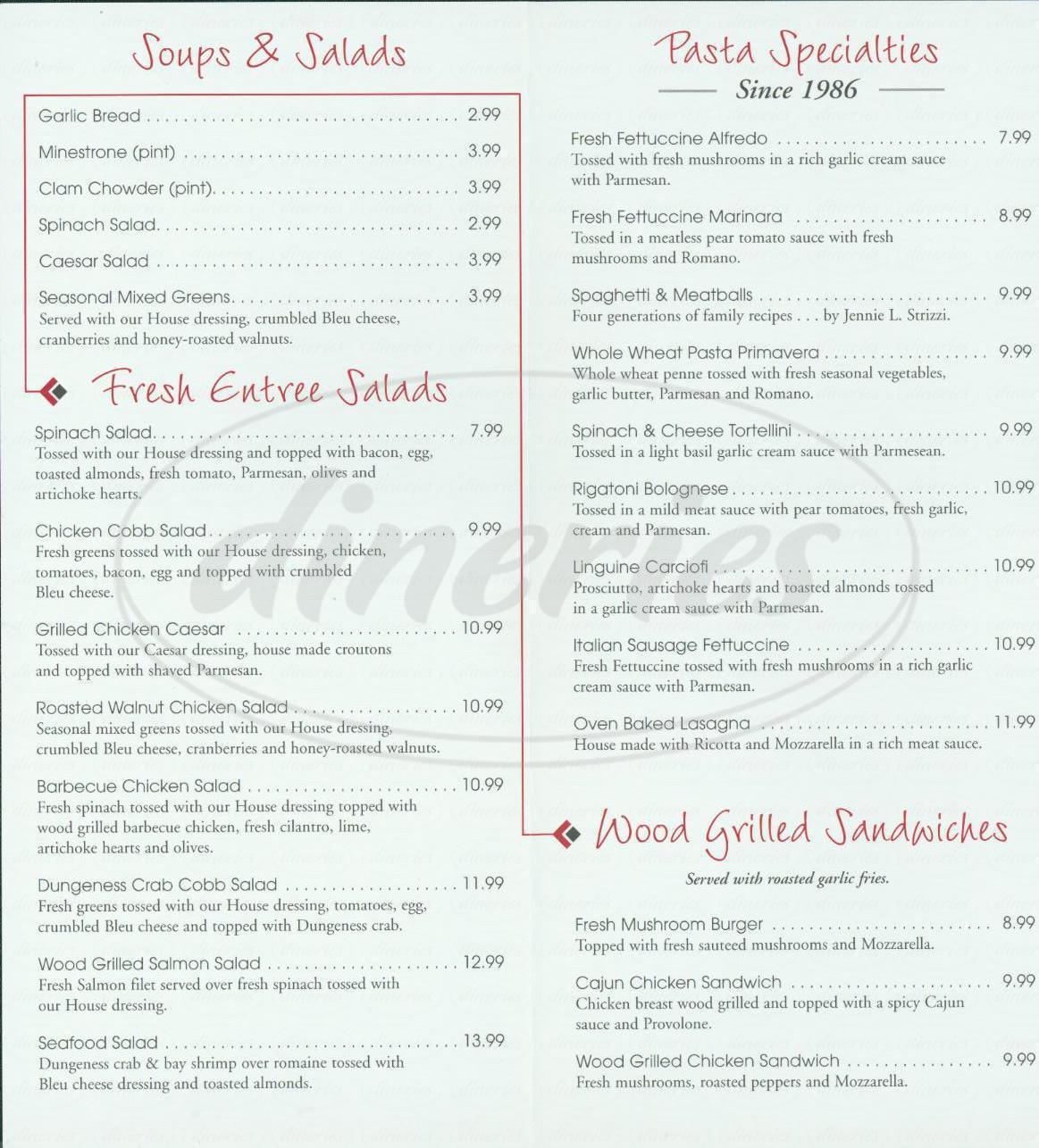 menu for Strizzis Restaurant
