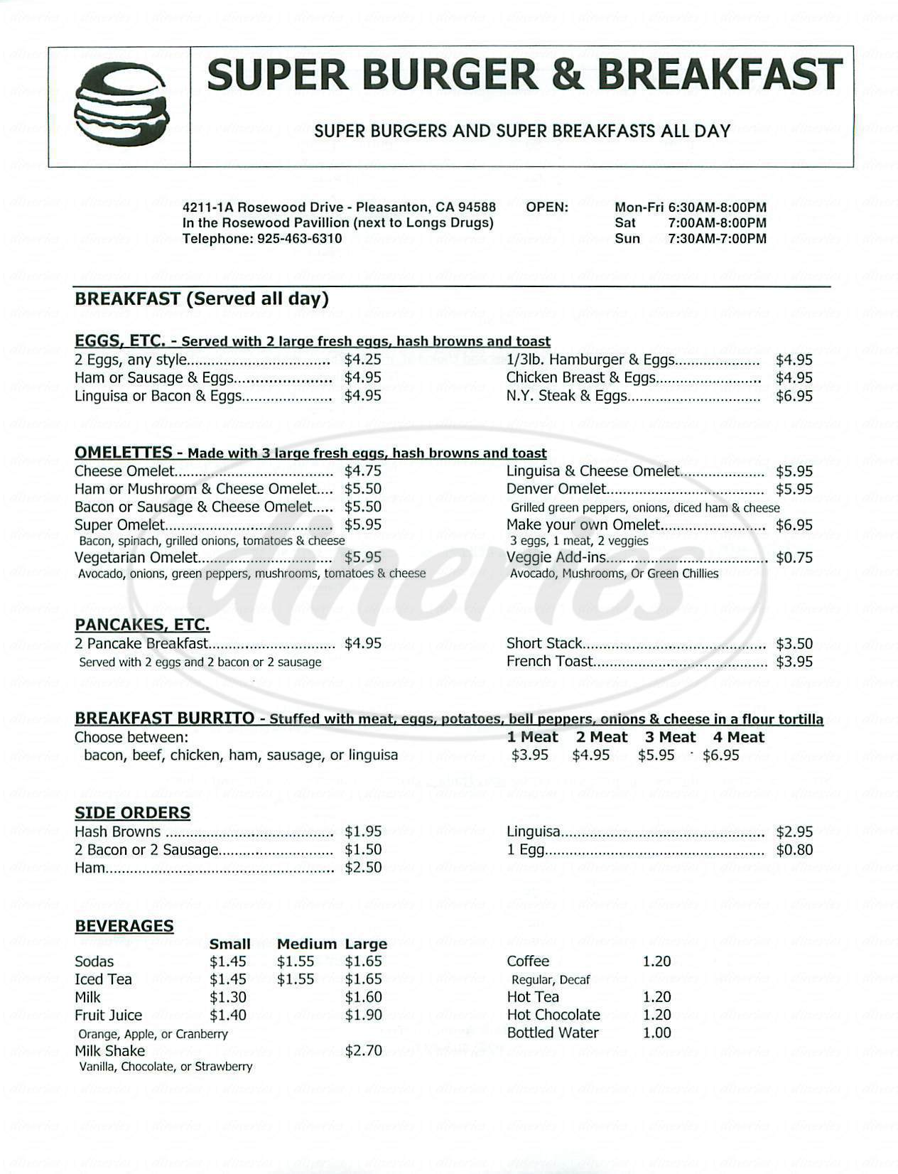 menu for Super Burger & Breakfast