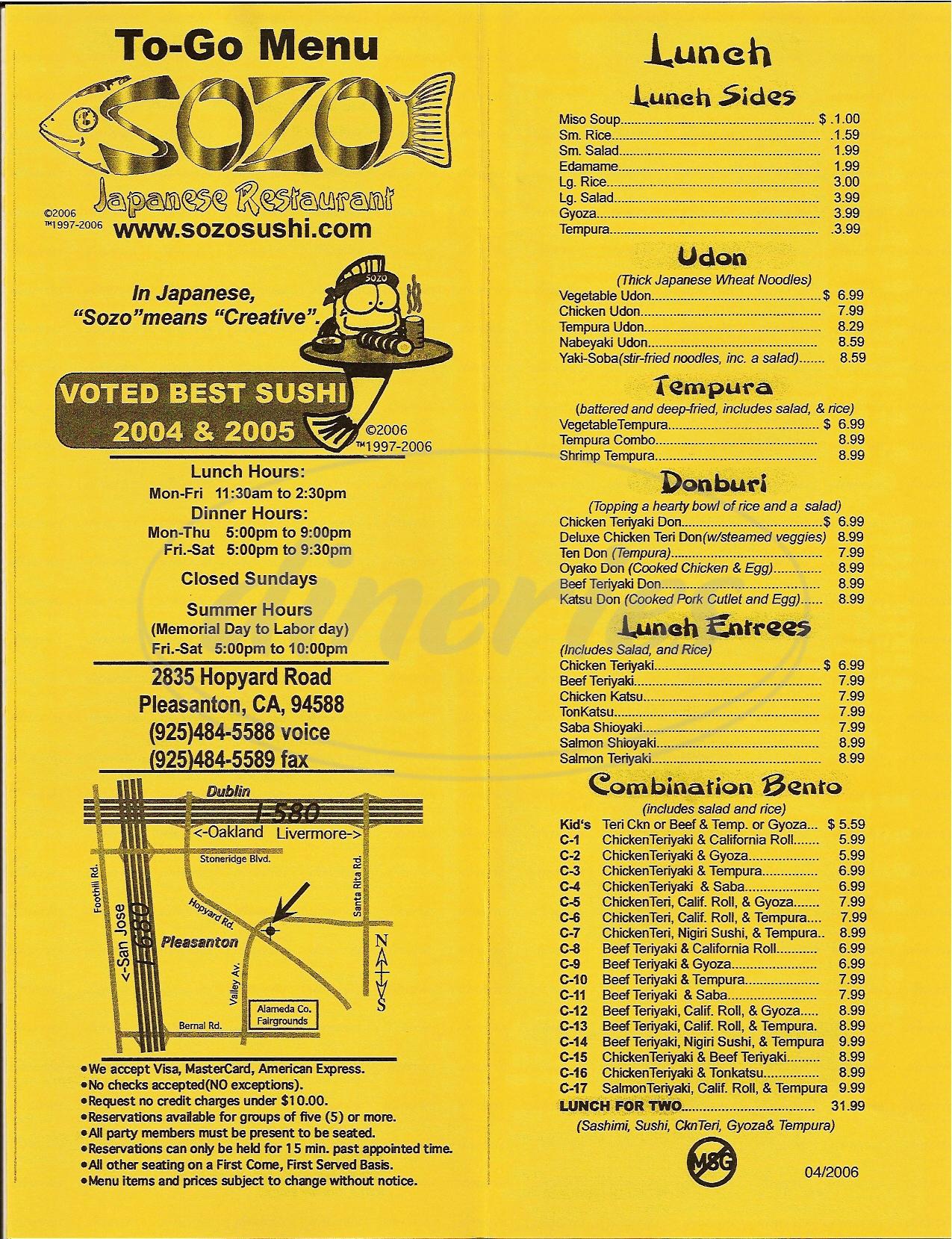 menu for Sozo Sushi Restaurant