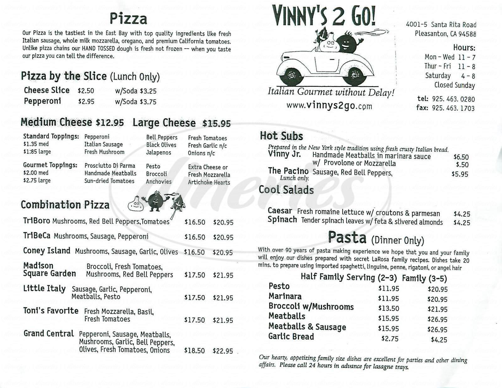 menu for Vinnys 2 Go