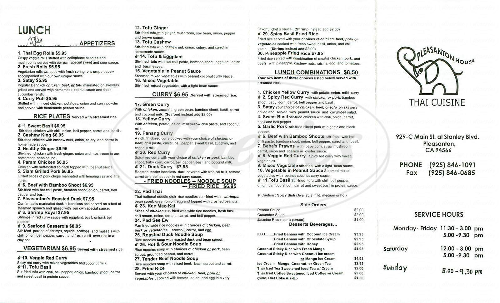 menu for Pleasanton House Thai Cuisine