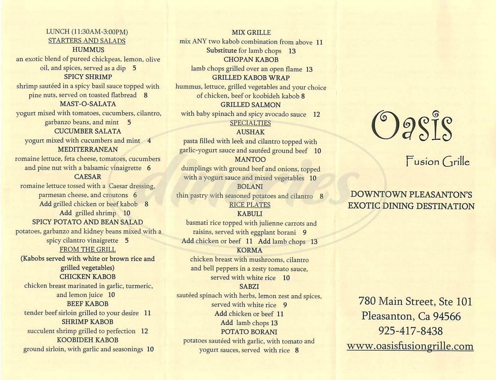 menu for Oasis