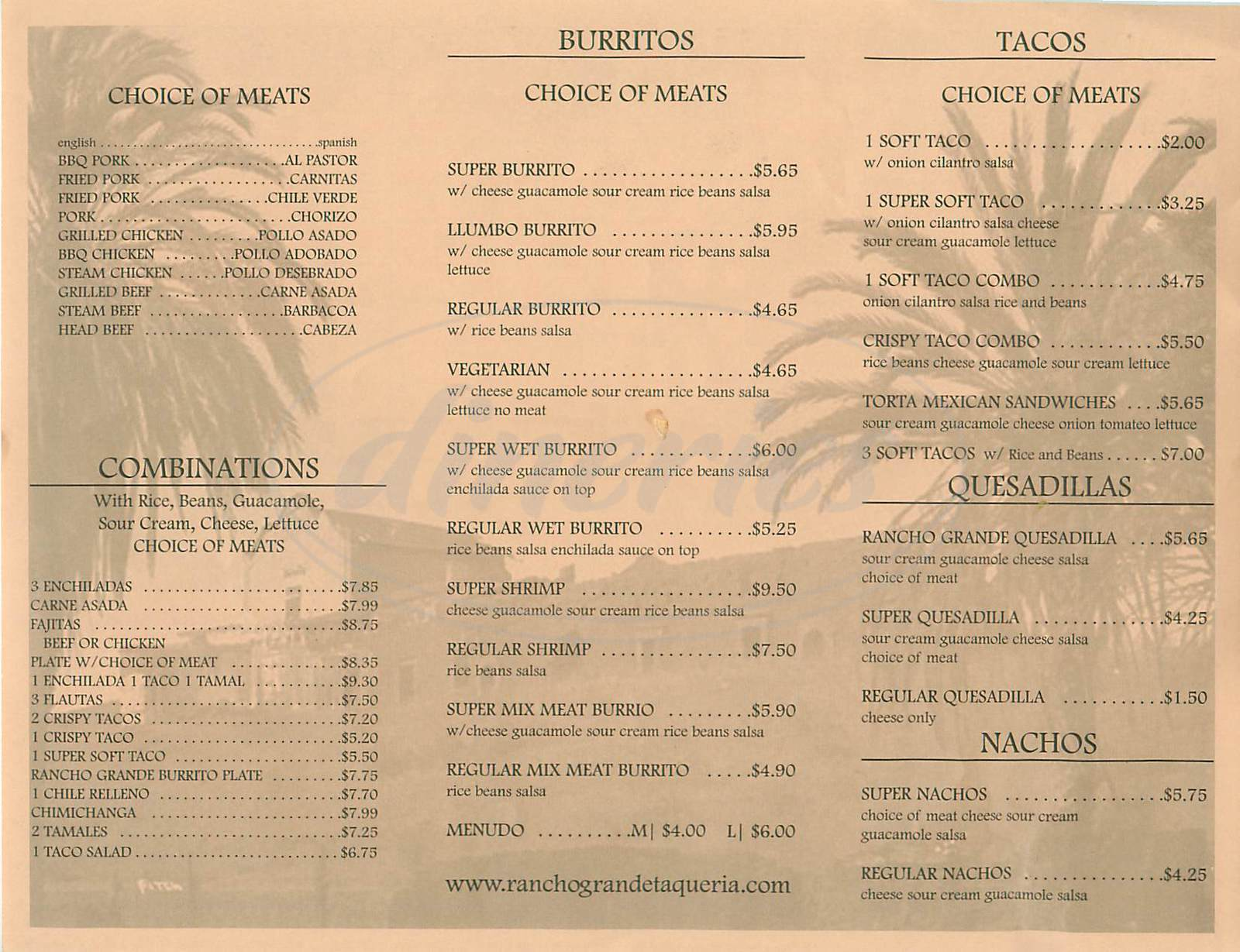 menu for Rancho Grande Taqueria