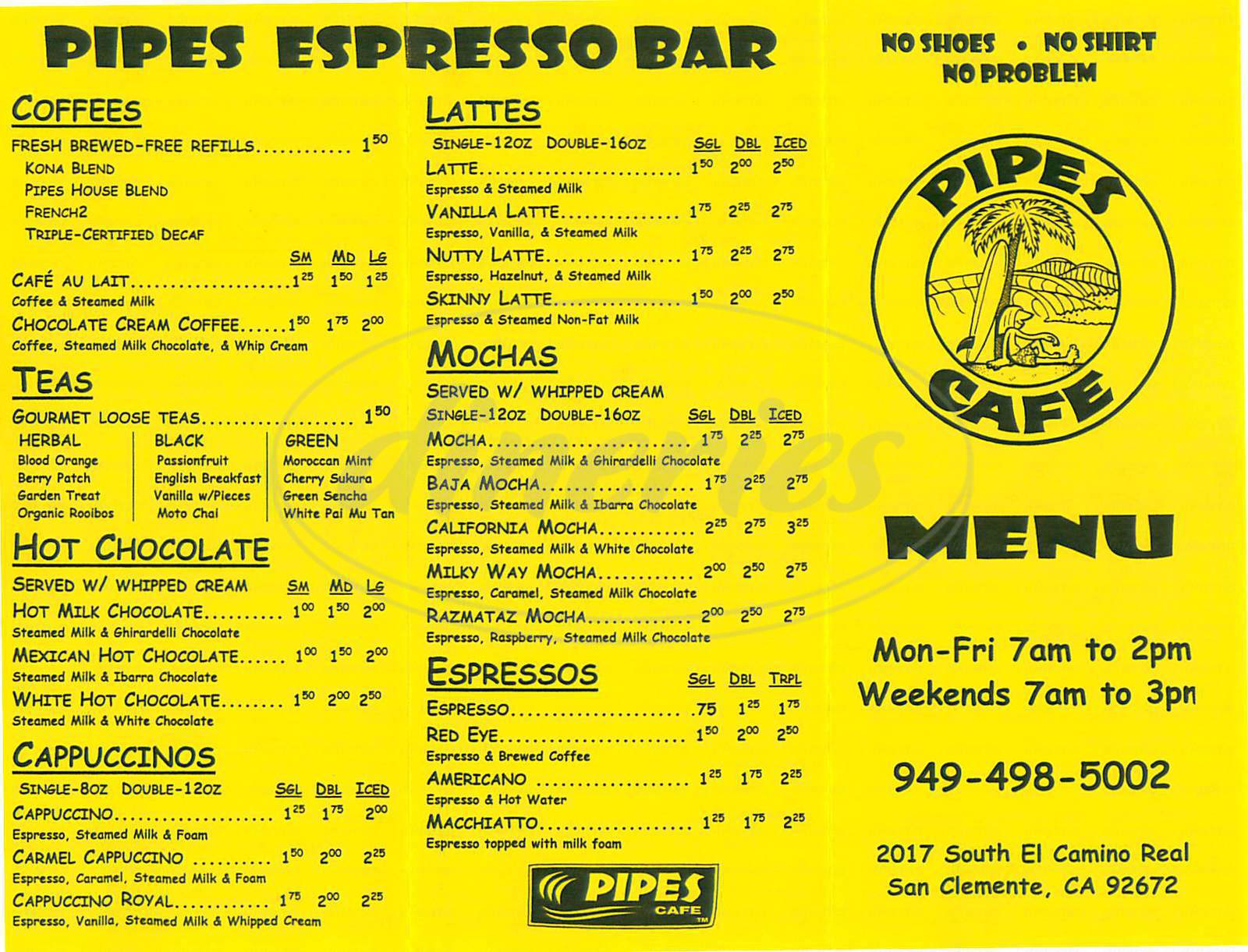 menu for Pipes Café