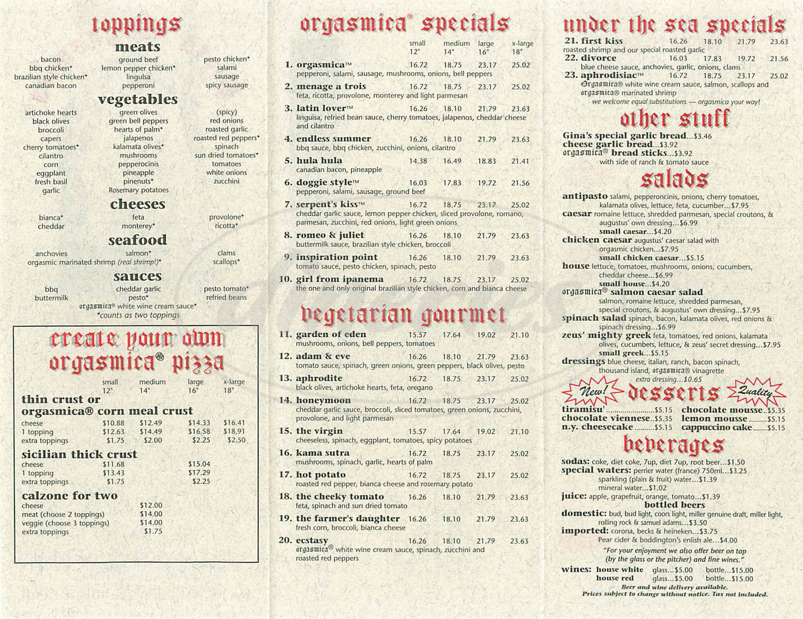 menu for Pizza Orgasmica