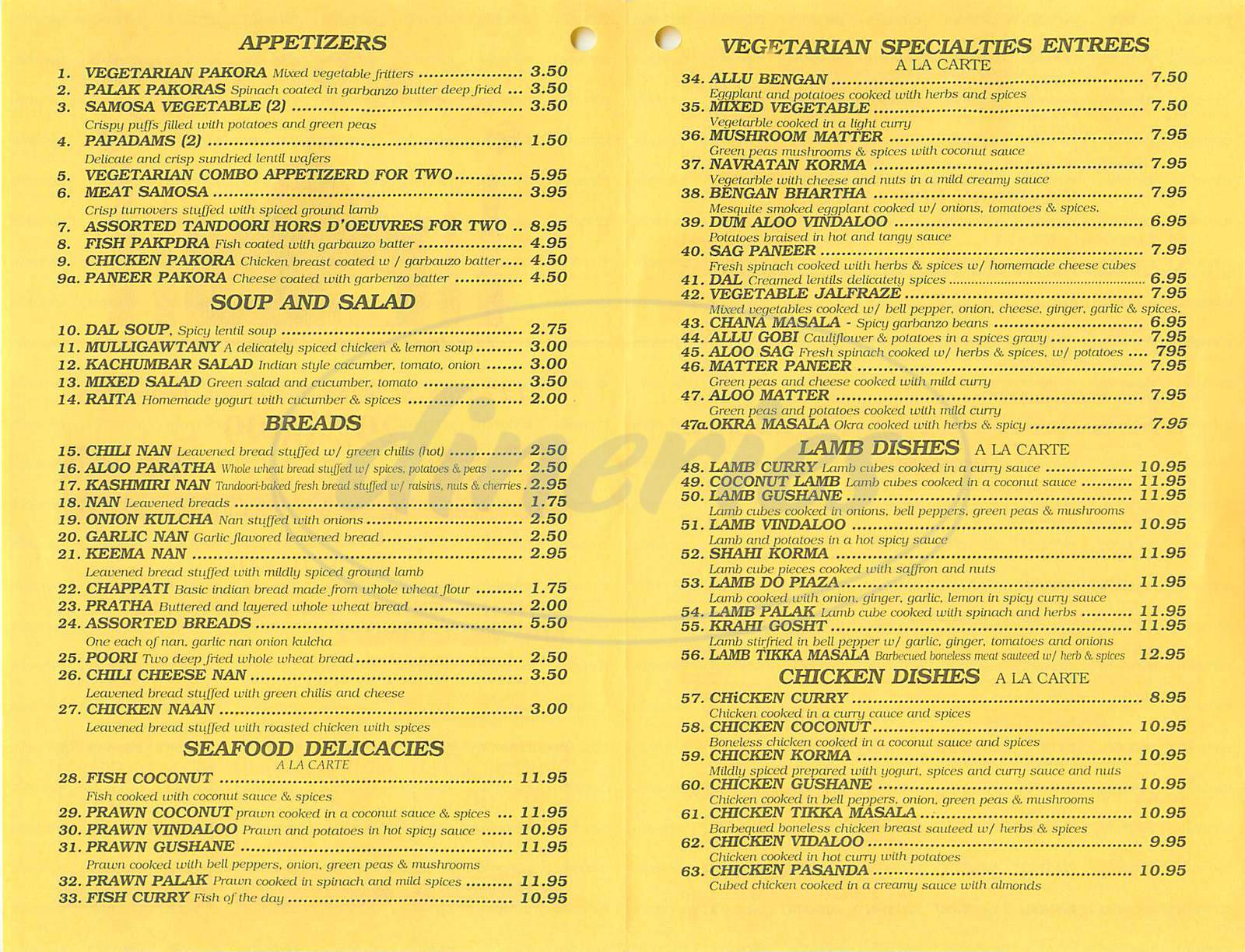 menu for Star of India