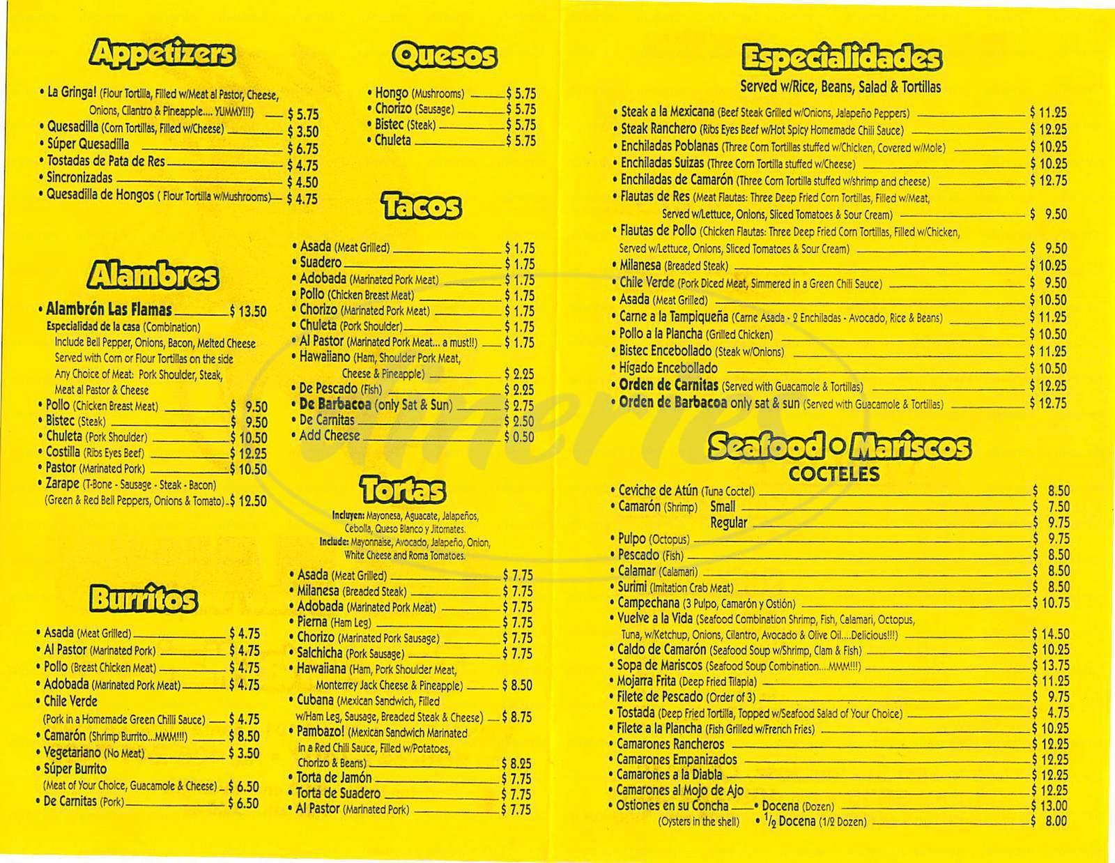 menu for Las Flamas