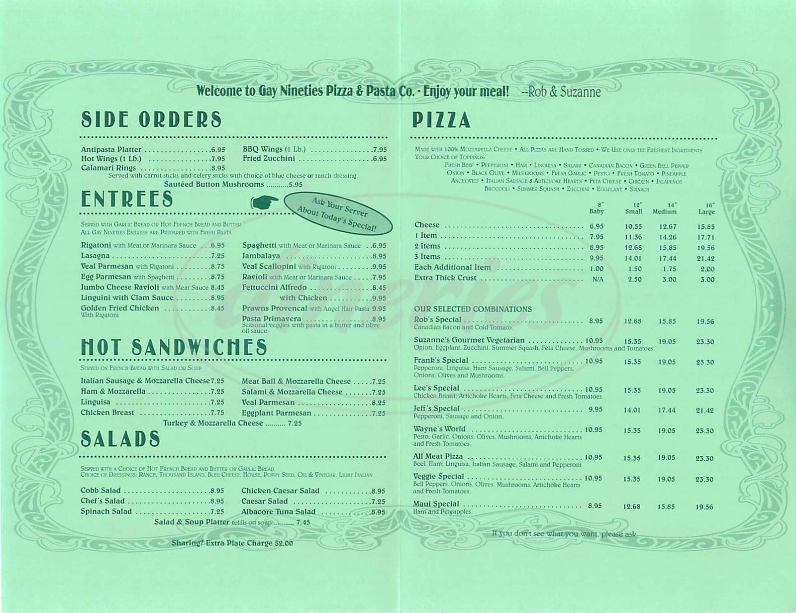 menu for Gay Nineties Pizza & Pasta