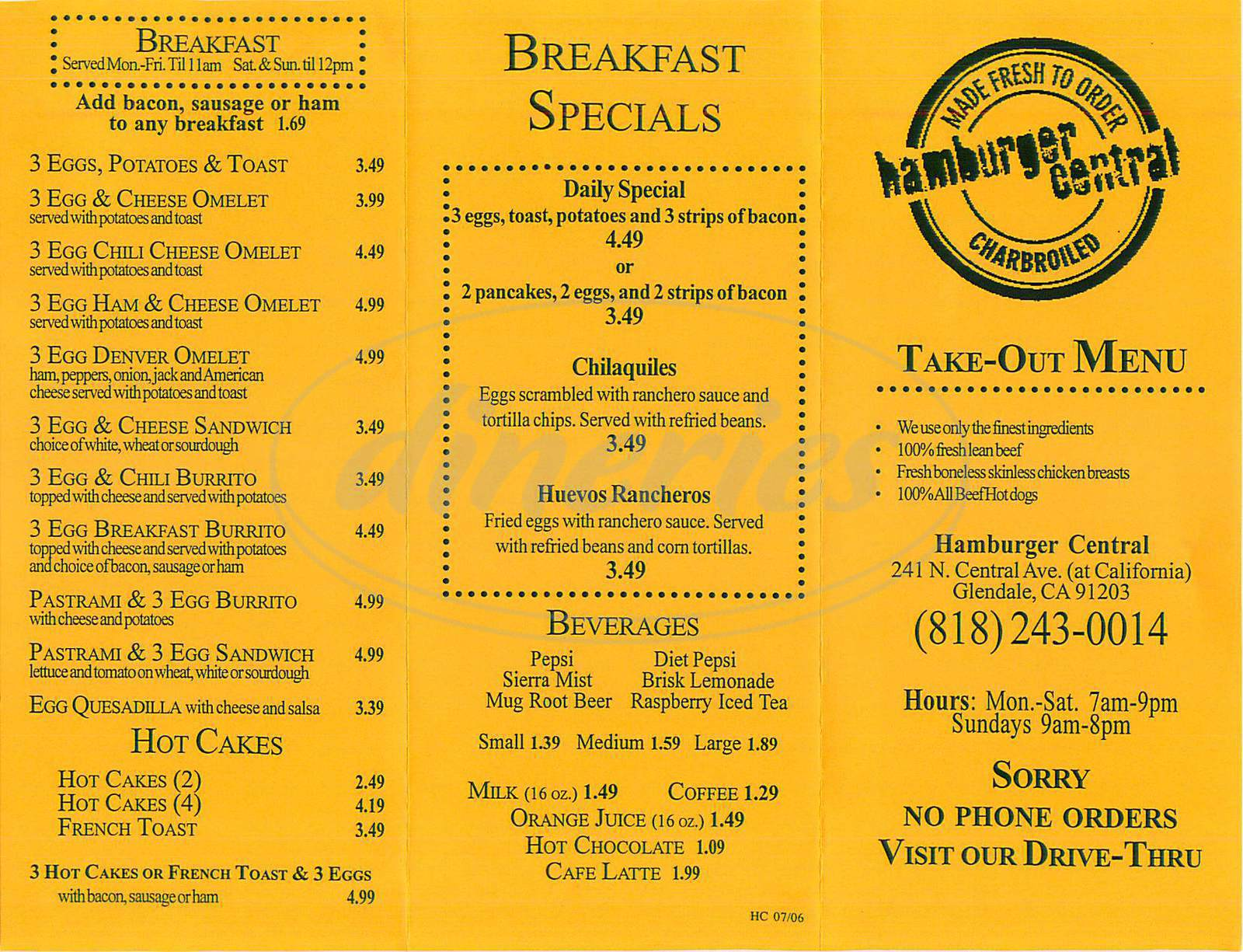 menu for Hamburger Central