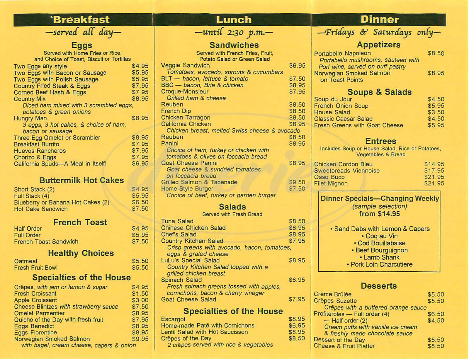 menu for Lulu's Café