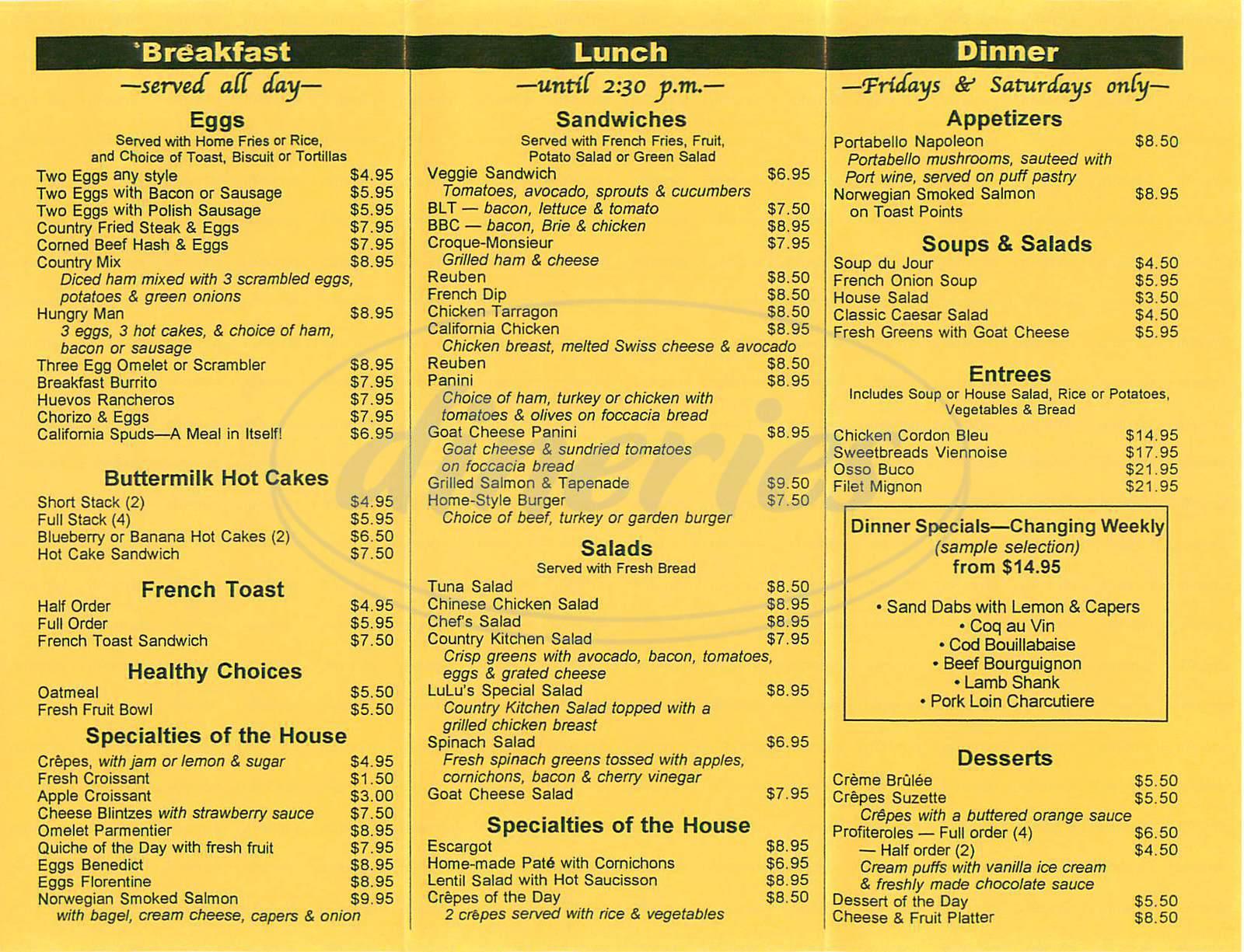 menu for Lulu's Café