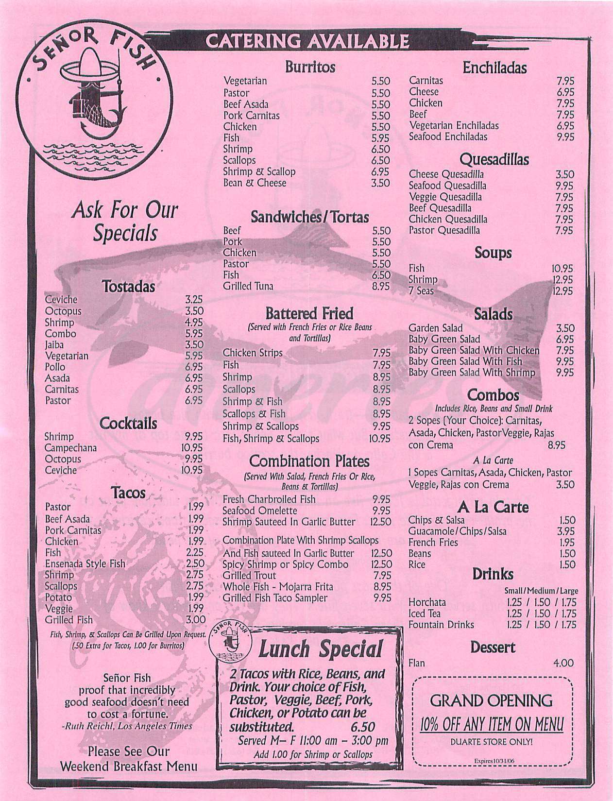menu for Senor Fish