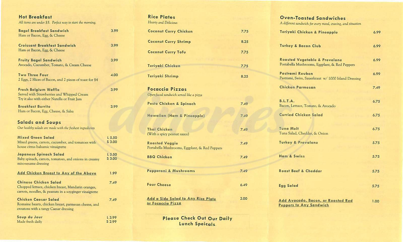 menu for Café Infusion