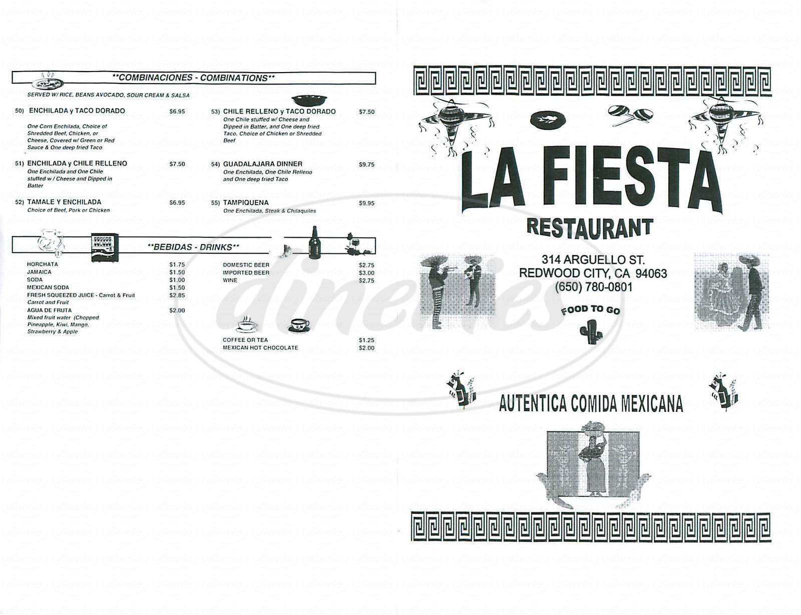 menu for La Fiesta Mexican Restaurant