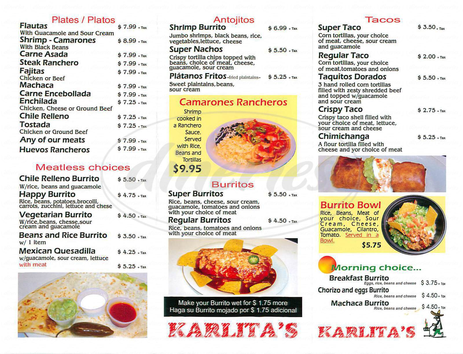 menu for Karlitas Taco Place