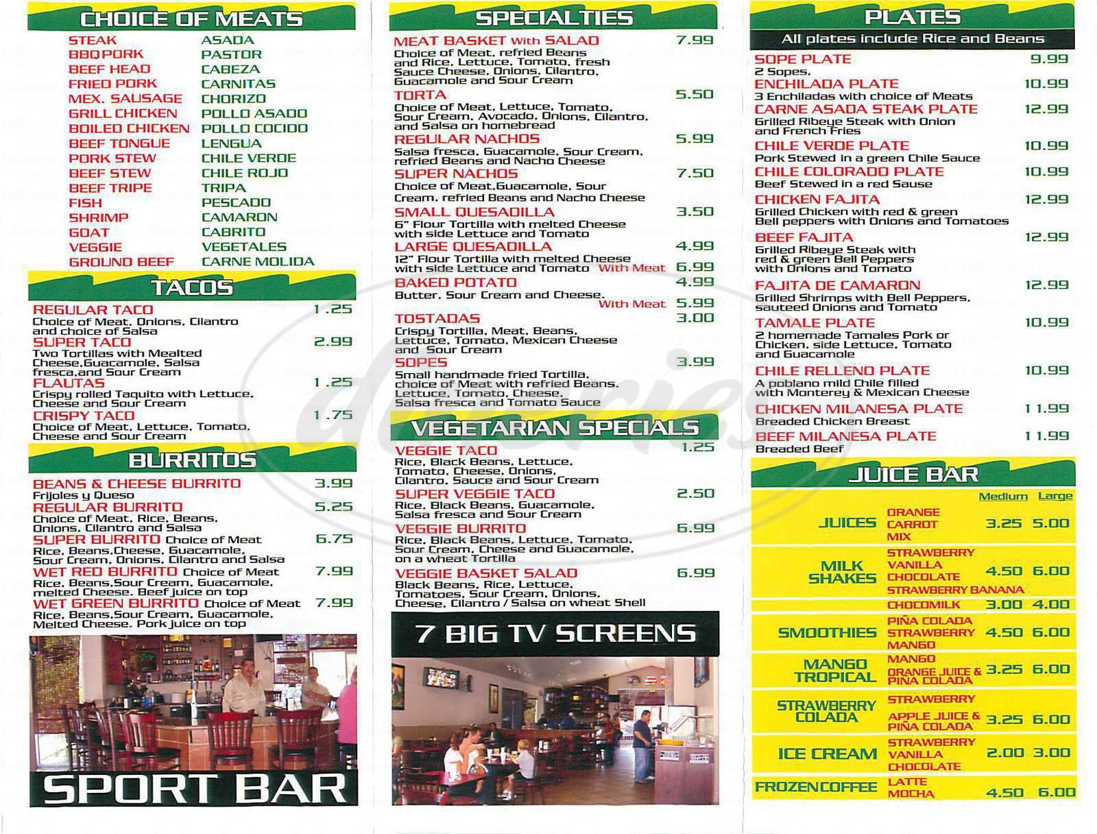 menu for El Grullense Grill