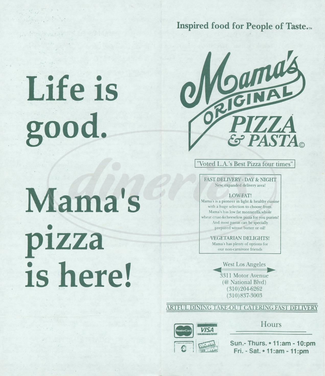 menu for Mama's Original Pizza & Pasta